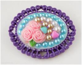 Sweet Lolita Cameo Brooch, Purple and Baby Blue - Decoden, Kawaii Access... - $12.00