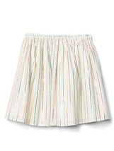 New Gap Kids Girl Off White Pastel Multicolor Striped Elastic Waist Ski... - $17.77