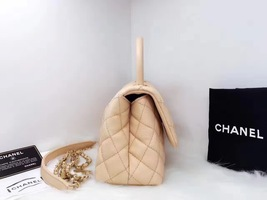 100% AUTHENTIC CHANEL 2017 CAVIAR QUILTED MINI COCO HANDLE FLAP BAG BEIGE GHW image 3