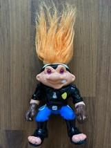 Vintage Troll Doll 1992 Orange Hair Police Battle Troll Cop Biker Hasbro - $5.89