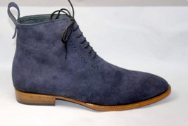 Handmade Men's Blue Suede Two Tone High Ankle Lace Up Boots image 7