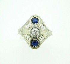 Art Deco 18k Gold Genuine Natural Diamond and Sapphire Filigree Ring (#J4449) - $425.00