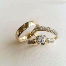14K Yellow Gold Plated 2Ct Simulated Diamond Men-Women Trio Wedding Ring... - $99.99