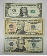 2013 $1, $10, $20 Fancy Serial Number Notes Lot of 3 PC-161 - $53.15