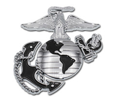 MARINE CORPS 3X3 INCH EGA BLACK CHROME MEDALLION EMBLEM MADE IN USA - $36.09