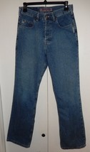 Vintage SILVER Straight Leg Button Fly Denim Jeans Women's Size 28 x 30 - $24.99