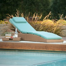 Light Brown Resin Wicker Chaise Lounge Outdoor Pool Lounger w/ Sea Blue ... - $296.94