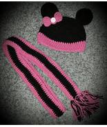 Kids Minnie Mouse Handmade Crochet Hat & Scarf Set - $40.00