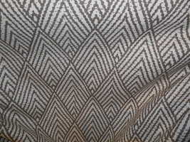 DARK TAUPE and CREAM Chevron geometric cotton print drapery upholstery fabric,  - $7.89