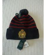 $48.00 Lauren Ralph Lauren Logo-Patch Ribbed Knit Hat, Black/Red - $20.79