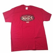 Proud Member NHRA 2013 Gildan L T-Shirt Burgundy Red National Hot Rod Assoc - $9.89