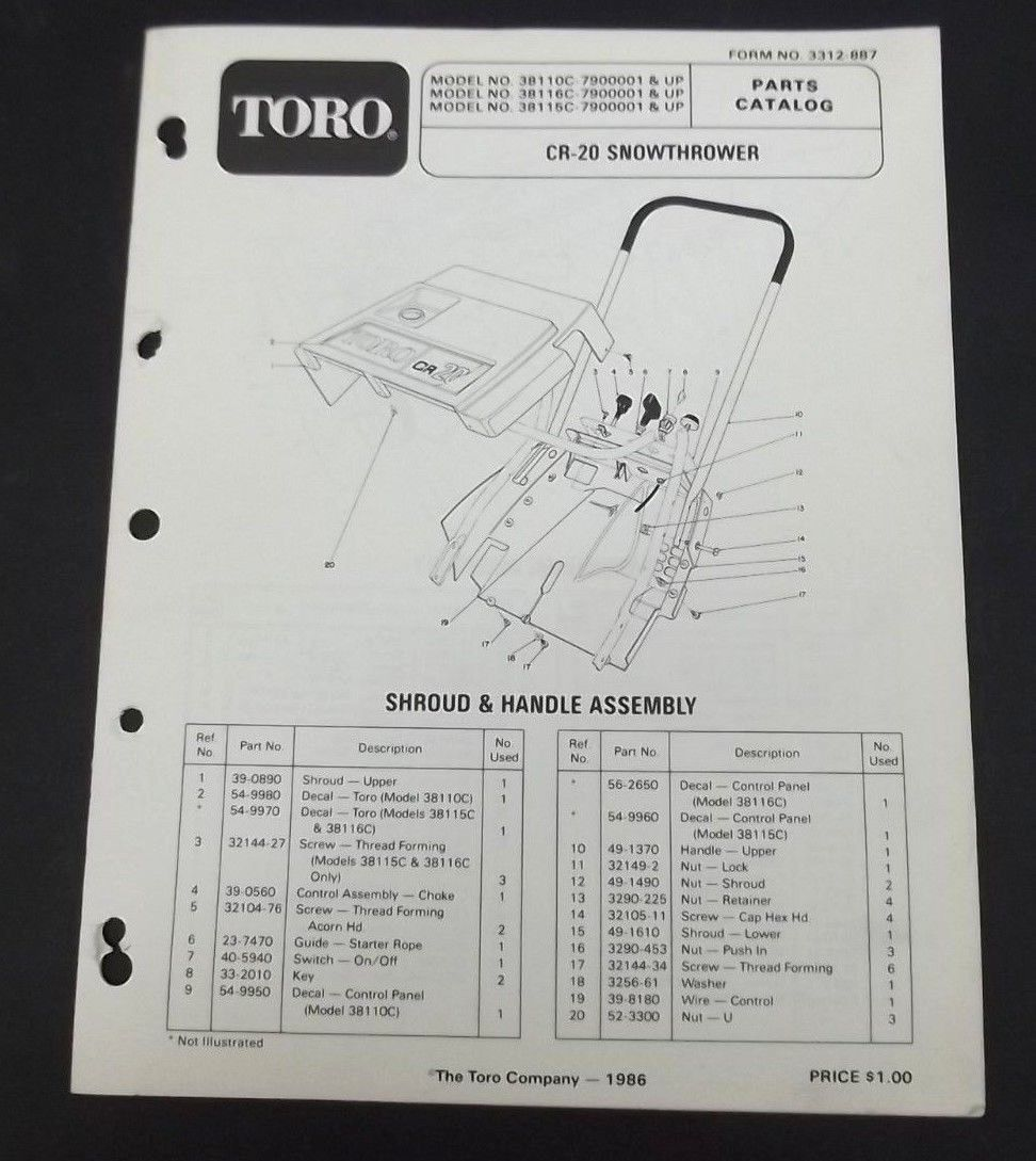 toro cr 20 snow thrower parts catalog manual and 42 similar items rh bonanza com Toro Lawn Mower Wiring Diagram Toro Lawn Mower Schematic