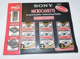 Sony Microcassette MC-60 60 Minute Cassettes 9 Pack Brand New Sealed - $39.99