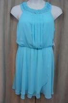 Jessica Simpson Dress Sz 10 Aqua Blue Chiffon Blouson Casual Cocktail Dress - $72.87