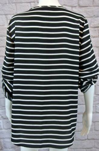 """NWT CALVIN KLEIN Striped Zip Pullover Top XL Fits like a L 42"""" Bst image 2"""