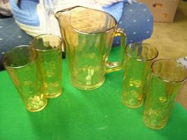 Vintage Marigold DEPRESSION Glass PITCHER & 4 GLASSES.....SALE - $13.86
