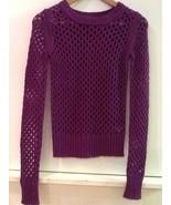 Arizona Jean Co. Mesh-Stitch Barcelona Purple Long Sleeve Sweater - Juni... - $13.95