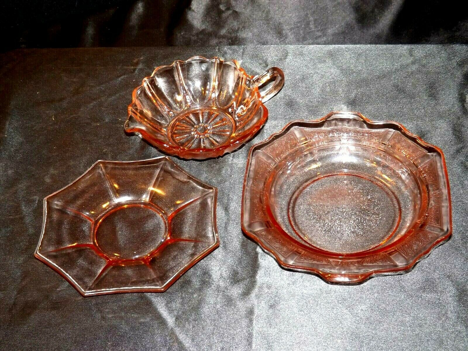 Pink Bowl, Saucer and Cup Depression Glass AA19-CD0035 Vintage