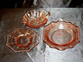 Pink Bowl, Saucer and Cup Depression Glass AA19-CD0035 Vintage image 1