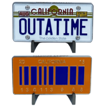 "BACK TO THE FUTURE OUTATIME CALIFORNIA LICENSE PLATE 3"" GLOW DARK CHALLE... - $23.74"