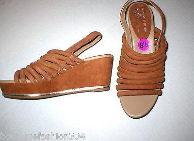 New $235 Womens 8.5 Donald J Pliner Wedge Platform Sandals Brown Shoes Suede