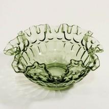 "Fenton VTG Colonial Green Glass Bowl Thumbprint Crimped Ruffled Edge 8""... - $7.49"