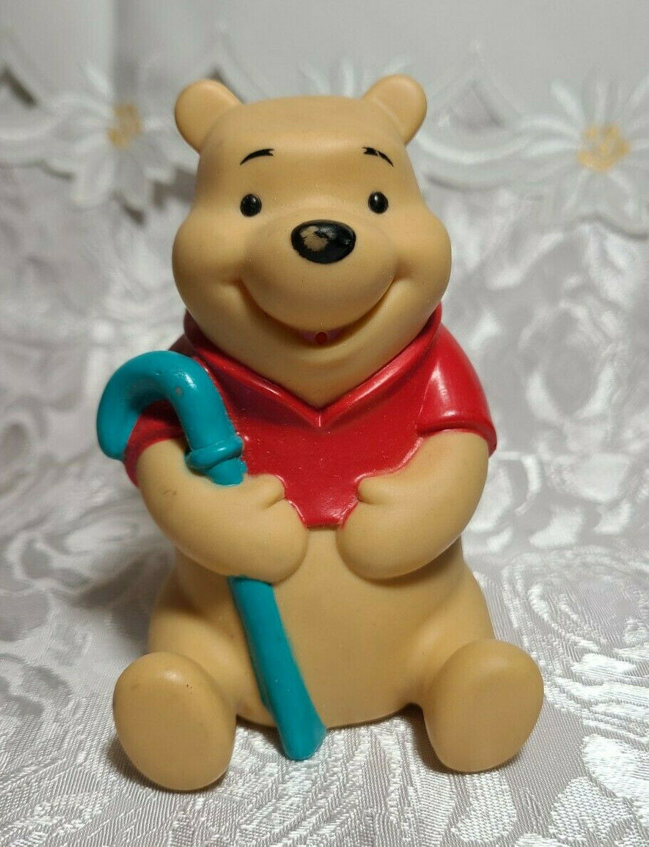 "Vintage Winnie the Pooh with Blue Cane Plastic Figurine 4"" Tall"