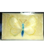 GR70 Butterfly with Fur BG Felt Body and Silk Wings Div Back Postcard No... - $7.00