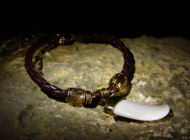 Hyperborean WEREWOLF WITCH Tooth Leather Talisman Bracelet izida haunted no Jinn - $222.00