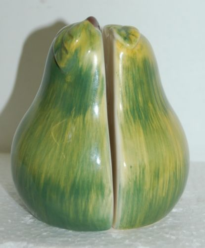 Earthenware Pear Salt Pepper Shakers Green Color 3-1/2 Inches Tall