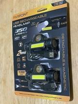 FARPOINT USB Recharable Headlamp Flashlight - 350  Lumen Black 2 Pcs-Brand New