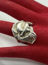 Vintage Sterling Silver Modernist Brutalist Abstract Crinkle Ring 6-3/4 - $77.35