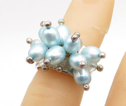 925 Sterling Silver - Blue Pearl & Topaz Bead Cluster Band Ring Sz 4 - R... - $31.83
