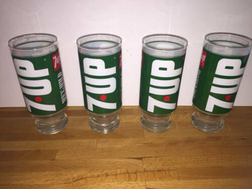 Primary image for Vintage 7-UP Wet & Wild Drinking 4 Glass Set Green White Red Seven Up Uncola