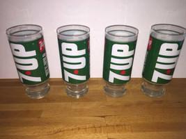 Vintage 7-UP Wet & Wild Drinking 4 Glass Set Green White Red Seven Up Un... - $40.58
