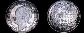1941 Netherlands 25 Cent World Silver Coin - Wilhelmina I - $11.99