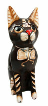 Balinese Wood Handicrafts Adorable Feline Cat With Butterfly Bow Tie Fig... - $35.99