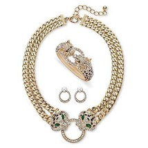 Pave Crystal Leopard Three-Piece Set in Gold Tone - $38.14
