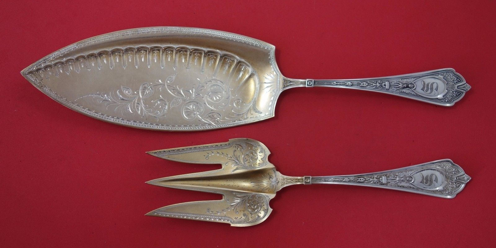 Primary image for Cleopatra by Schulz & Fischer Sterling Silver Fish Serving Set GW BC 3-Tine Fork