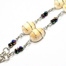 Necklace the Aluminium Long 48 Inch with Shells Hematite & White Pearls image 5
