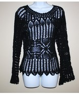 "Black Cotton Crochet Sweater  Scalloped Sleeves M ""Tiara""  - $15.00"