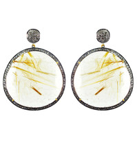 Rutile Quartz Gemstone 925 Sterling Silver Pave Diamond 14k Gold Dangle ... - $1,007.35