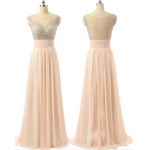 Chiffon see through back cheap charming party cocktail evening long prom dresses online pd0181