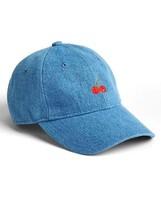 Gap Women Baseball Hat One Size Blue Denim Embroidered Red Cherry Cotton... - ₨1,742.13 INR