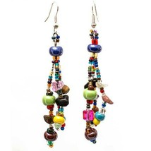 Global Stone Drop Earrings Multi Color  Hand Made Ball Stones Lucius  - $18.81
