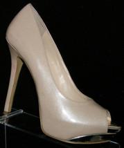 Enzo Angiolini 'Tima' cream metallic man made peep toe platform heels 9M - $29.60