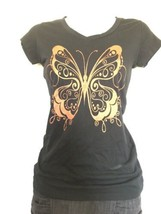 BUTTERFLY TEE shirt Black & Orange Women Flattering Fit - Large - $17.33