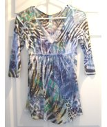 S Twelve Women's Size Small  Animal Print Blinged Shirt V Neck 3/4 Sleeves NWT - £14.64 GBP