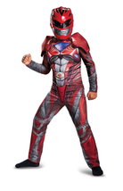BOYS SUPERHERO CLASSIC RED POWER RANGERS COSTUME & MASK SIZE L 10-12 HXL1 - £12.90 GBP