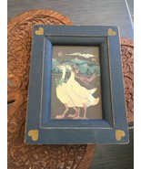 Small Country Blue Duck Scene Wooden Framed Wall Hanging - $12.45